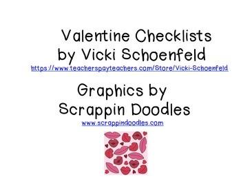 Valentine Checklist from Teacher or Student