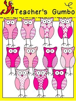 Valentine Chevron Owl Clipart