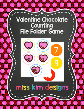 Valentine Chocolate Counting File Folder Game for Special Education