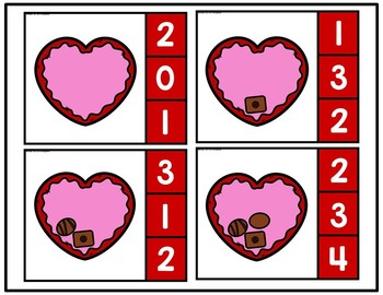 Valentine Chocolates Count and Clip Card Activities