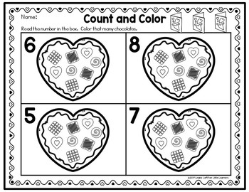 Valentine Chocolates Counting Clip Cards and Activities