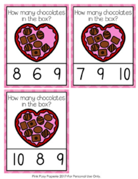 Valentine Chocolates Count and Clip Cards Numbers 0-10