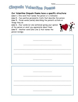 Valentine Cinquain with Positive Traits page