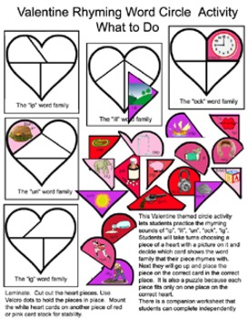 Valentine Circle Activity for Rhyming Words