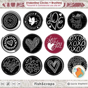 Valentine Circle Clip Art - 3 inch Round Images - Circle D