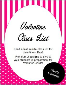 Valentine Class List