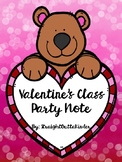 Valentine Class Party Note-Editable