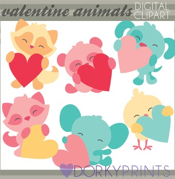 Valentine Clip Art Animals Holding Hearts