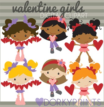 Valentine Clip Art Girls with Hearts