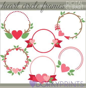 Valentine Clip Art - Heart Circle Frames Clipart