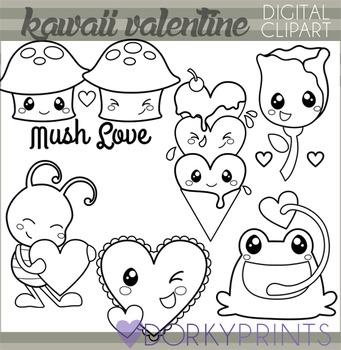 Valentine Clip Art - Kawaii Valentines Blackline Clipart
