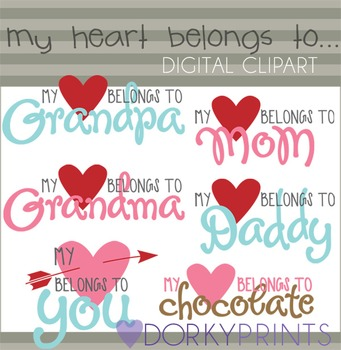 "Valentine Clip Art ""My Heart Belongs To..."""