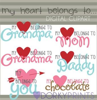 "Valentine Clip Art ""My Heart Belongs To..."""