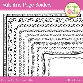 Valentine Clip Art Page Border Frames: Black and White Digital Frames