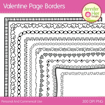 Valentine Clip Art Page Border Frames: Black and White Digital Frames