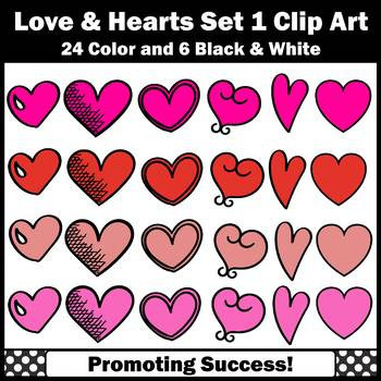 Red and Pink Hearts Clipart for Valentine's Day Cards Commercial Use Set 1 SPS