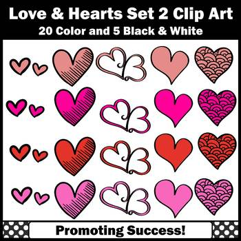 Valentine Clip Art Set 2, Red and Pink Heart Clipart Valentine's Day Clipart SPS