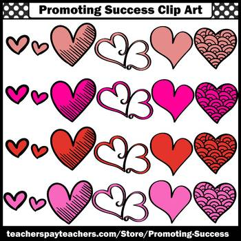 Red and Pink Hearts Clipart SPS