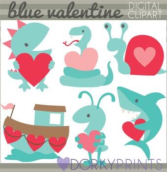 Valentine Clip Art - Shark Dinosaur, Snake Valentines