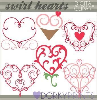 Valentine Clip Art - Swirl Hearts Clipart