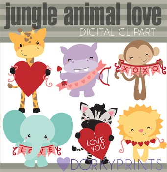 Valentine Clip Art with Jungle Animals