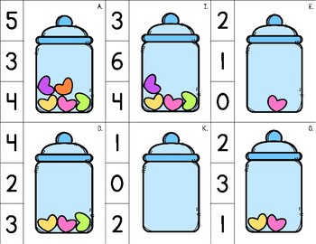 Valentine Clip Cards - Numbers to 10 {Numerals and Words} with Recording Sheets