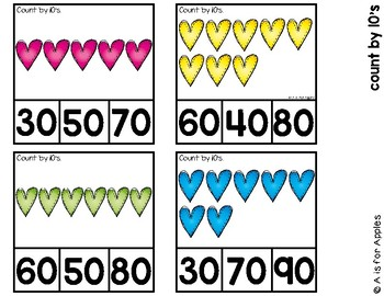 Valentine Clip Cards for Reading and Math