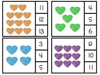 Valentine Clip or Cover Counting Cards