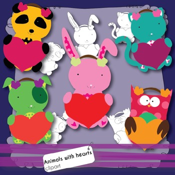 Valentine's Day Clipart - Baby Animals Holding Hearts  \ Funny Colours