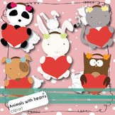 Valentine's Day Clipart - Baby Animals Holding Hearts