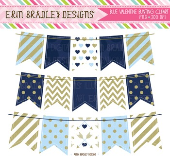 Valentine Clipart Bunting Graphics in Blue & Gold
