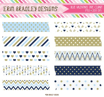 Valentine Clipart - Digital Washi Tape Graphics Blue & Gold
