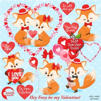 Valentine Clipart, Foxs Clipart, Heart Clipart, {Best Teacher Tools}, AMB-1582