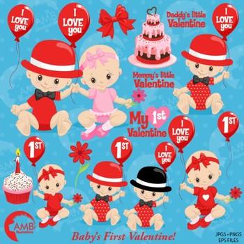 Valentine Clipart, Valentine Baby Clipart, Love Clipart, AMB-1580