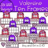 Valentine Clipart - Valentine Monster Ten Frames {Jen Hart