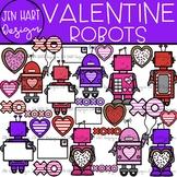 Valentine Clipart - Valentine Robots {Jen Hart Clipart}