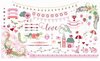 Valentine Clipart, Valentine's Day vector and png love romance clip art graphics