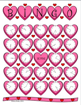 Valentine Clock Bingo (Time Bingo) - Time to the Five Minutes