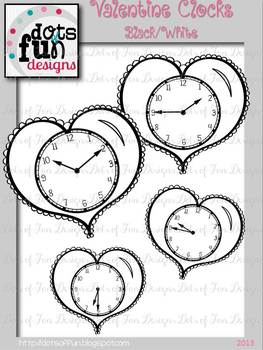 Valentine Clocks: 5 Minute Intervals- Black/White ~Dots of Fun Designs~
