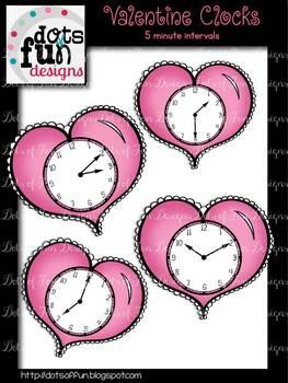 Valentine Clocks: 5 Minute Intervals ~Dots of Fun Designs