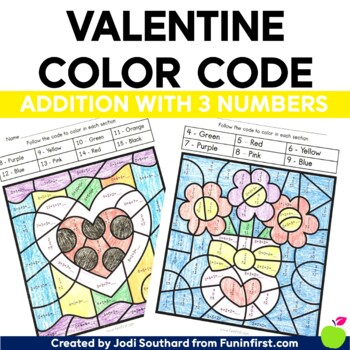 Valentine Color By Code - 3-Digit Addition