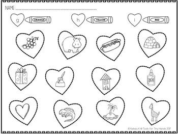Color By Beginning Letter Sound: Valentine