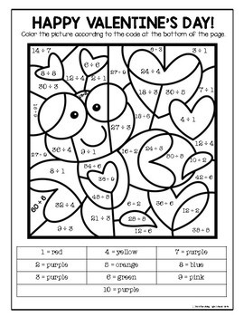 Valentine Color By Number Multiplication and Division