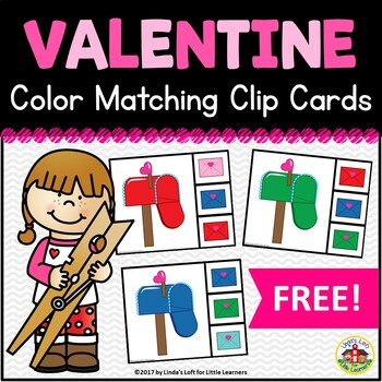 Valentine's Day Color Matching Clip Cards