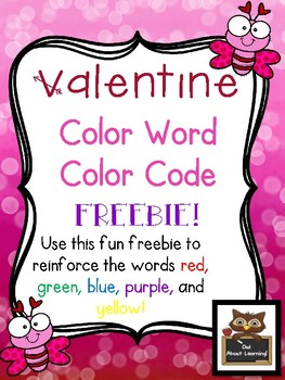 Valentine Color Word Color Code FREEBIE!