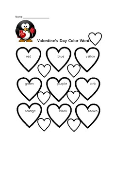 Valentine Color Word Sheet