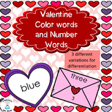Valentine Color Words and Number Words Printable