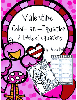 Valentine Color-an-Equation, multi-step equations