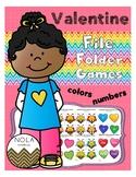 Valentine Color and Number File Folder Games