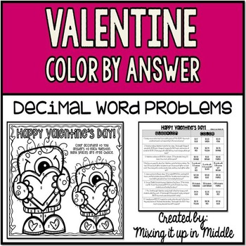 Valentine Color by Answer Activity-Decimal WORD PROBLEMS